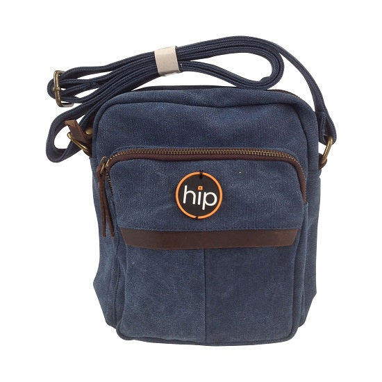 Canvas Leather trim Cross body Bag Navy