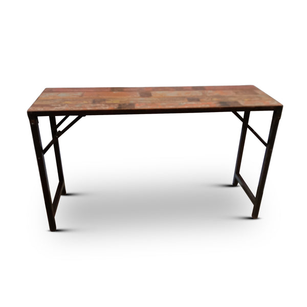 Wood Iron Trestle Console