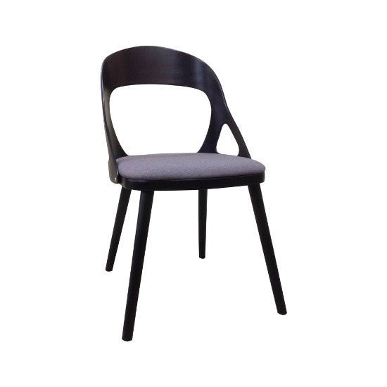 Oslo Dining Chair Black Timber, Truffle Fabric Seat