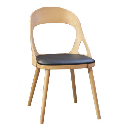 Oslo Dining Chair Natural Timber, Black PU