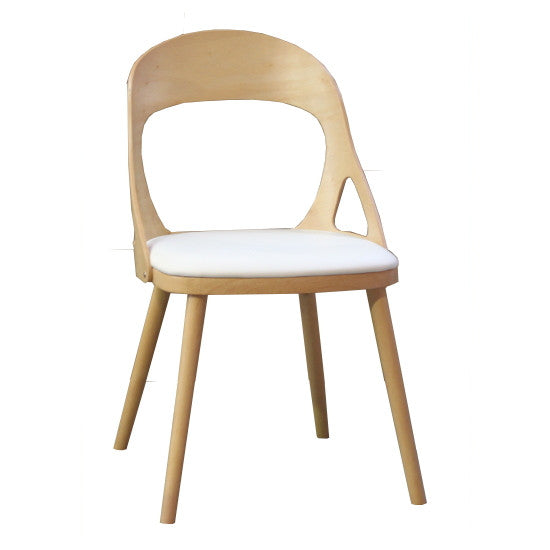 Oslo Dining Chair Natural Timber White PU