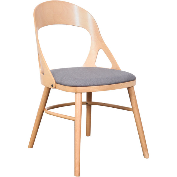 Oslo Dining Chair Natural Timber, Truffle Fabric Seat
