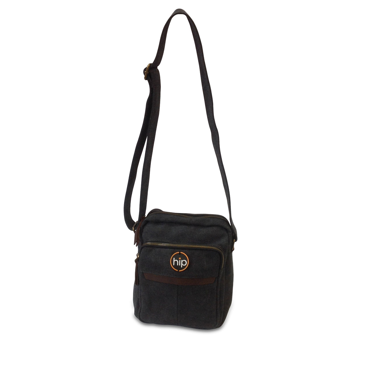 Canvas Leather trim Cross body Bag Black