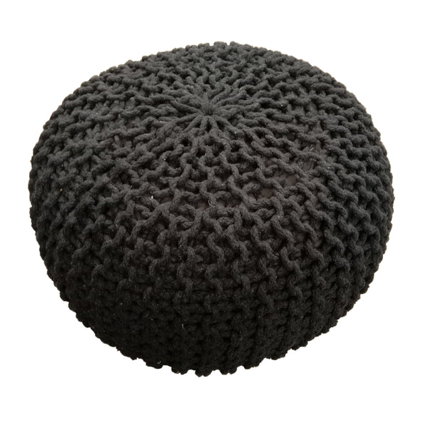 Plaited Pouf Ottoman Footstool - Black