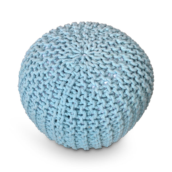 Plaited Pouf Ottoman Footstool - Light Blue