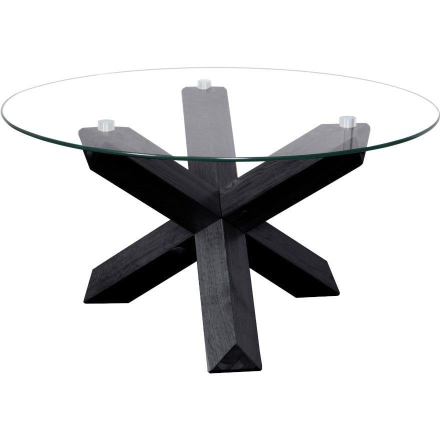Sala Glass Top Round Coffee Table Table 80 cm Diameter (Black)