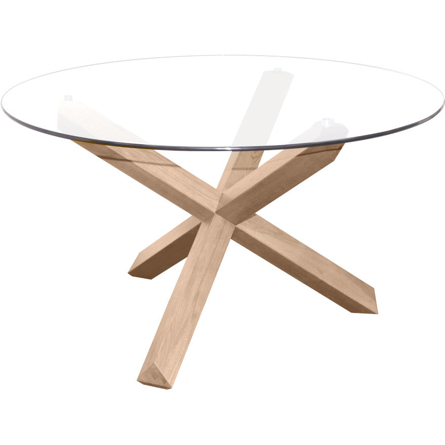 Sala Glass Top Round Dining Table 130cm Diameter (Natural)