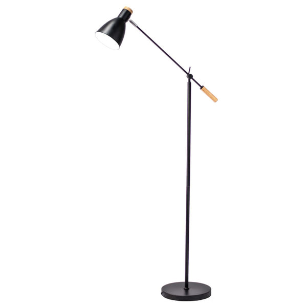 Scandi Stork Black metal and natural wood Adjustable Floor Lamp