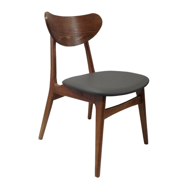 Fin Dining Chair - Teak colour Frame Grey padded PUSeat