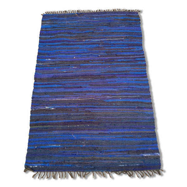 Cotton Chindi Blue Tonal Rug - 120cm x 180cm