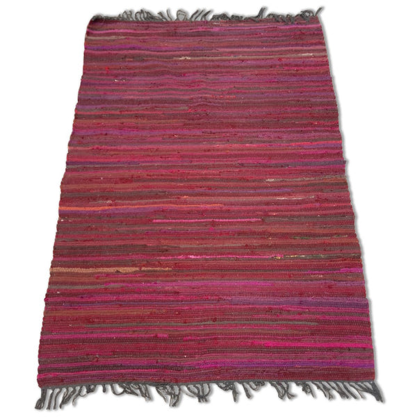 Cotton Chindi Burgundy Tonal Rug - 120cm x 180cm