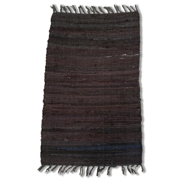 Cotton Chindi Black Tonal Rug Mat 50x80