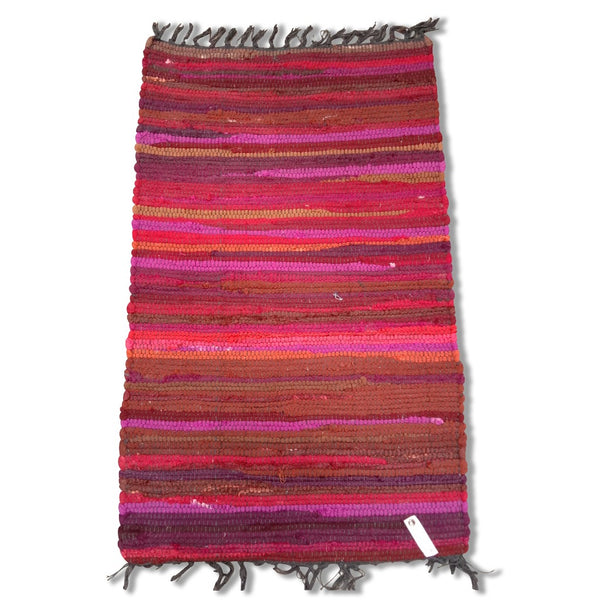Cotton Chindi Burgundy Tonal Rug Mat 50 x 80 cm