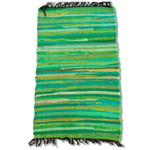 Cotton Chindi Green Tonal Rug Mat 50 x 80 cm