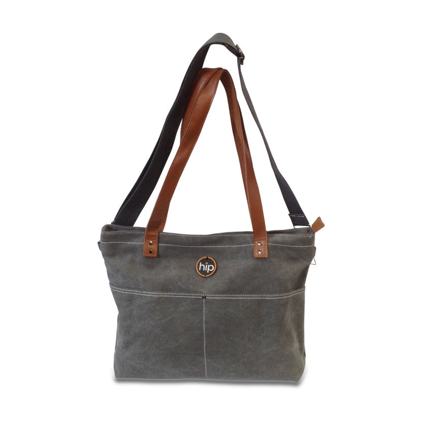 Hip Tote Travel Canvas Leather trim Light Grey Bag