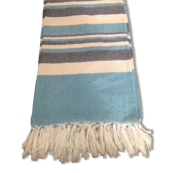 Cotton Throw Rug - Blue / White