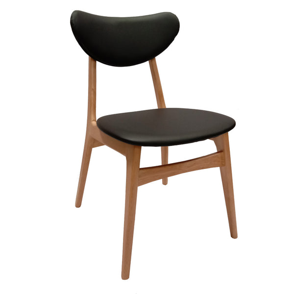 Falk Dining Chair - Natural timber Frame with Black PU Cushion Back and Seat