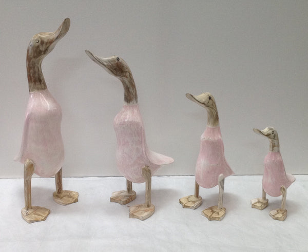 Pink Wash Wooden Ducks