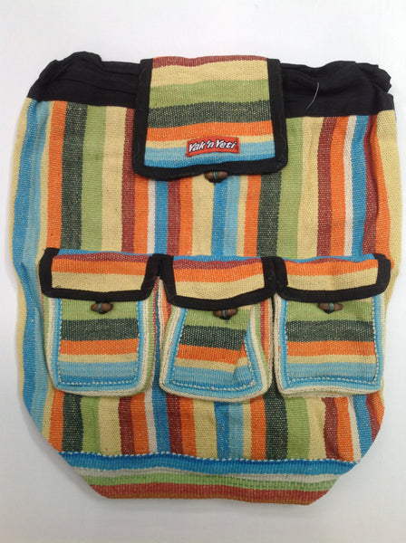 Cotton Backpack (Light Stripe)
