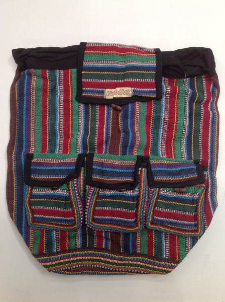 Cotton Backpack (Dark Stripe)