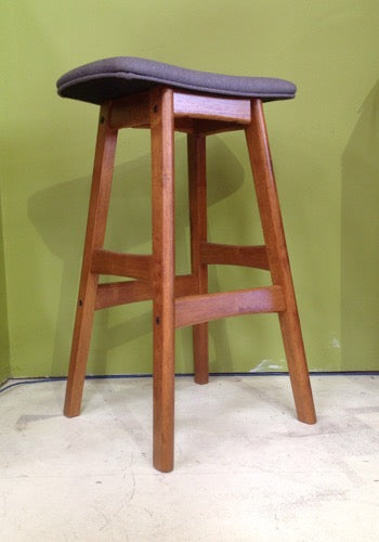 Gudena Counter Barstool - Teak and Mushroom