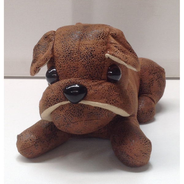 Laying Chocolate Bulldog Puppy Doorstop