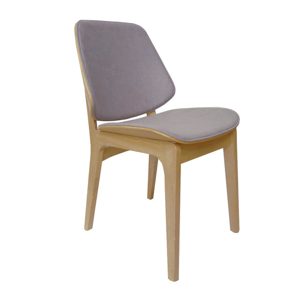Lisbon Dining Chair Natural Frame Pewter Fabric