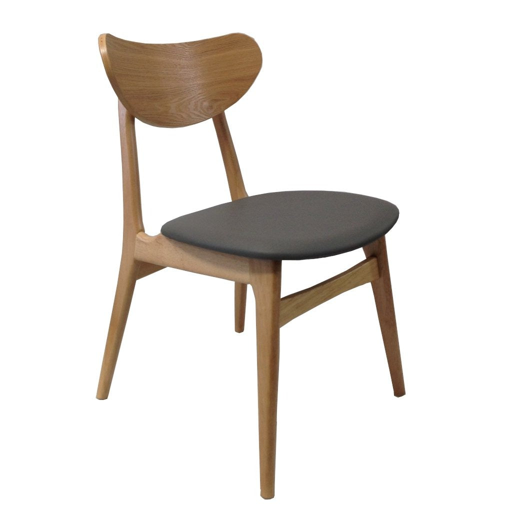 Fin Dining Chair - Natural frame, Grey Padded PU seat