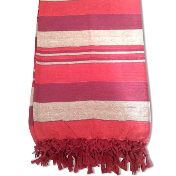 Cotton Throw Rug - Red / White