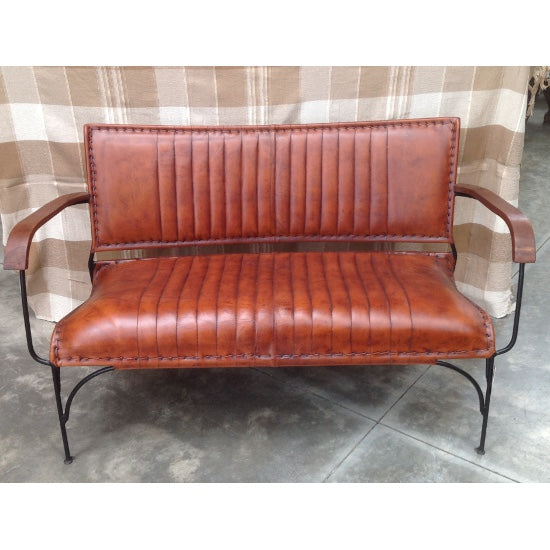 Barber Leather & Iron Sofa