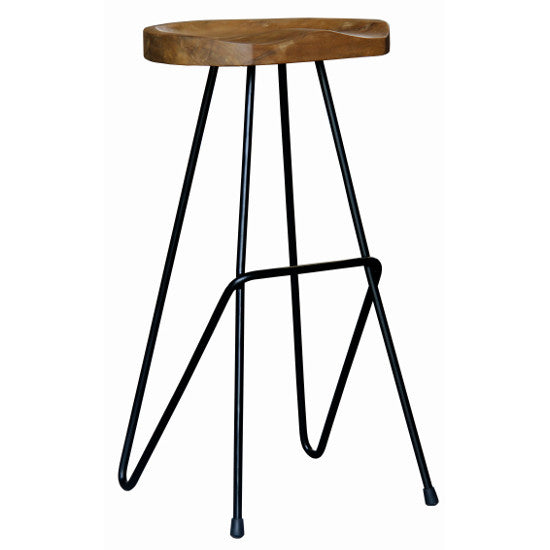 Saddle Iron/Teak Bar Stool