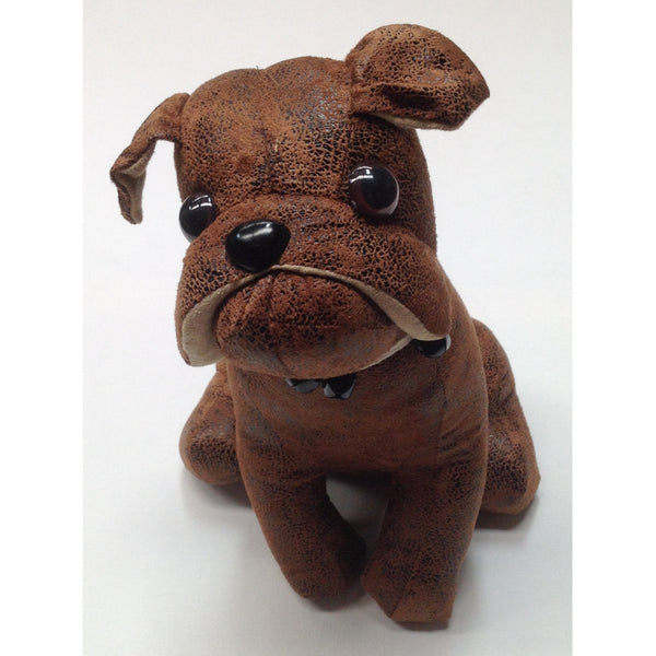 Sitting Chocolate Bulldog Puppy Doorstop
