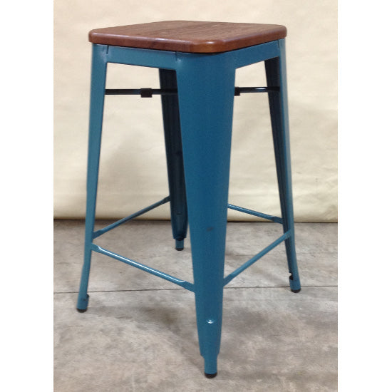Replica Tolix Stool (Teal & Timber)