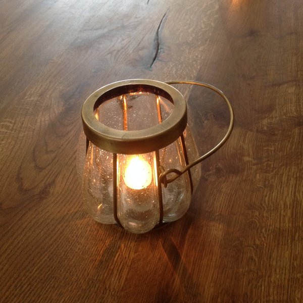 Tealight Holder Brass & Glass