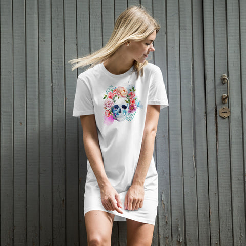 Floral Skull Organic cotton t-shirt dress
