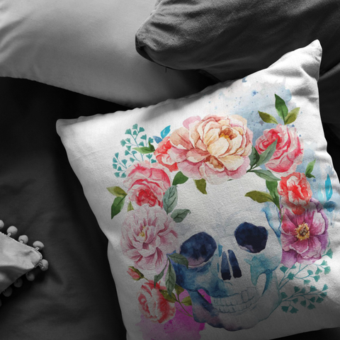 Floral Skull Pillow Covers