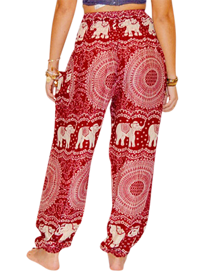 bcb437d4fd My Global Imprint -Scarlet Red Elephant Classic Boho Style Harem Pants