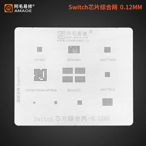 Amaoe BGA Reballing Stencil Template For Game Player Switch IC BGA200 NFCBEA BCM4354 MAX77620A 77812 Stencil
