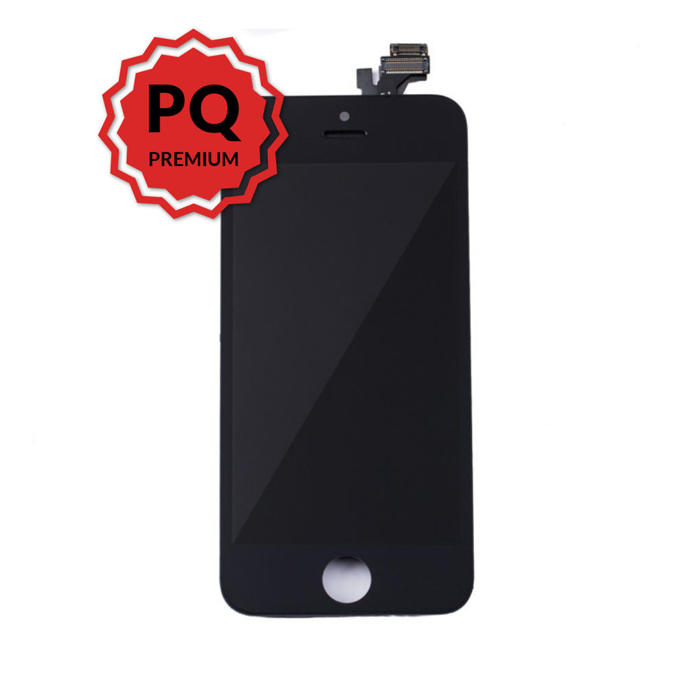iPhone 5 Premium LCD Black and flex cables with full view polarization, premium backlight, cold pressed frame with camera and proximity sensor brackets