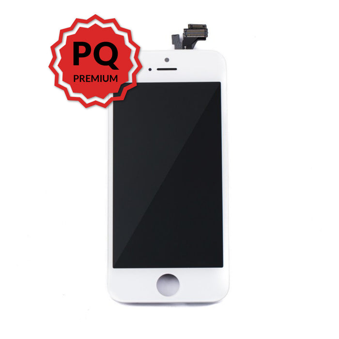 iPhone 5 Premium LCD White and flex cables with full view polarization, premium backlight, cold pressed frame with camera and proximity sensor brackets