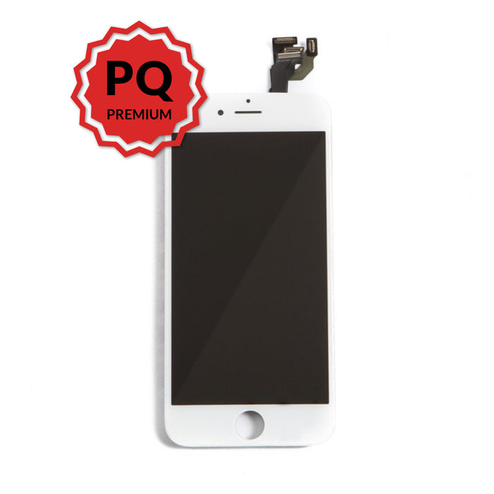iPhone 6 Premium LCD White and flex cables with full view polarization, premium backlight, cold pressed frame with camera and proximity sensor brackets