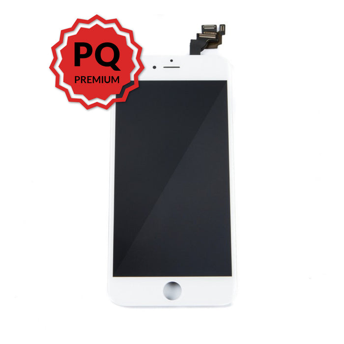 iPhone 6 Plus Premium LCD White and flex cables with full view polarization, premium backlight, cold pressed frame with camera and proximity sensor brackets, and 3D touch functionality
