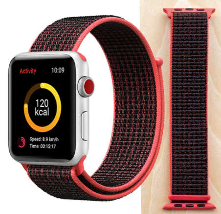 Woven Nylon Band For Apple Watch 42/44mm Sport Loop iWatch Series 5/4/3/2/1