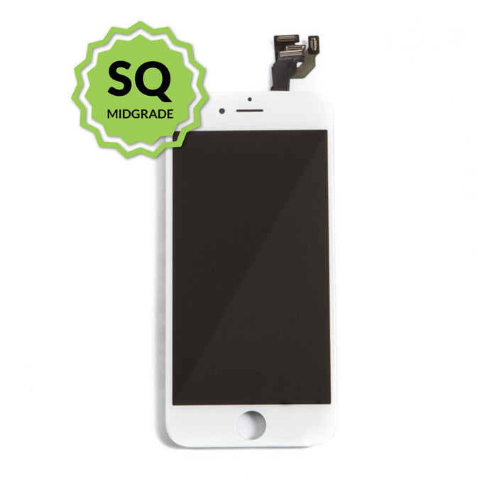 iPhone 6 Aftermarket Replacement LCD White with full view polarization, 400 Nitts, cold pressed frame with camera brackets, and Dual Driver touch IC