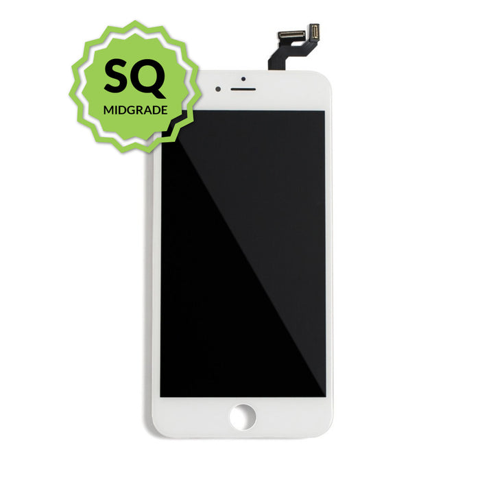 iPhone 6s Aftermarket Replacement LCD White with full view polarization, 400 Nitts, cold pressed frame with camera brackets, and Dual Driver touch IC