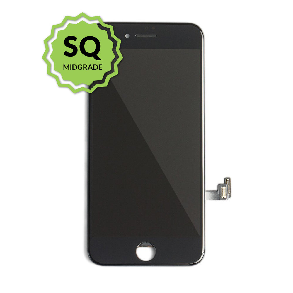 iPhone 7 Plus Aftermarket Replacement LCD Black with full view polarization, 400 Nitts, cold pressed frame with camera brackets, and Dual Driver touch IC