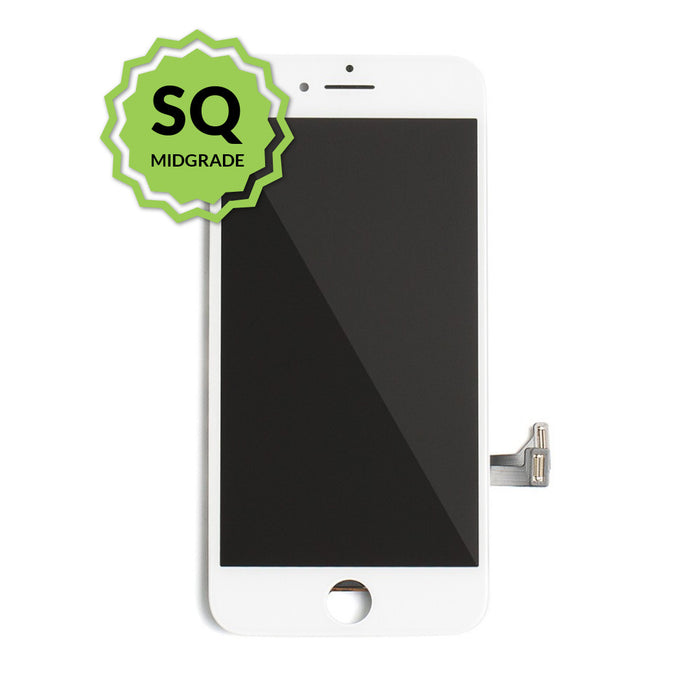 iPhone 7 Plus Aftermarket Replacement LCD White with full view polarization, 400 Nitts, cold pressed frame with camera brackets, and Dual Driver touch IC