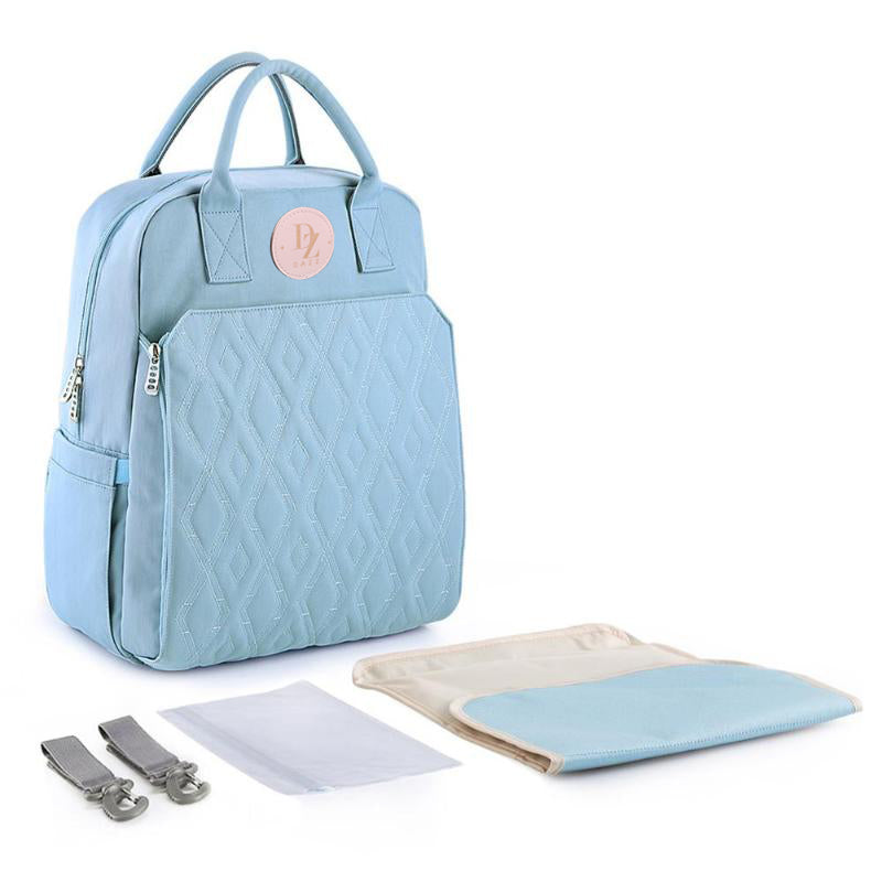 Quilted Baby Diaper Backpack - Azure Blue