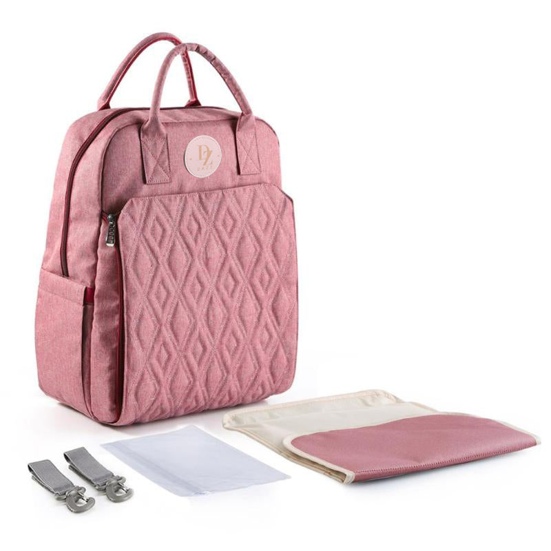 Quilted Baby Diaper Backpack - Rose Red