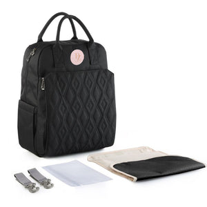 Quilted Baby Diaper Backpack - Charcoal Black